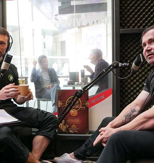 Tom Hewett and Rawdon Dubois take time out at Eagle Waves studios while recording Under The Bar podcast
